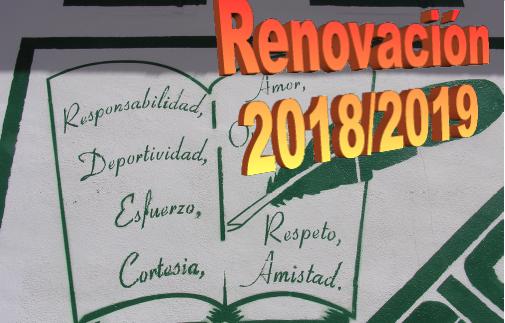 plazo para renovación de plazas curso 2018-19. TODOS LOS NIVELES.