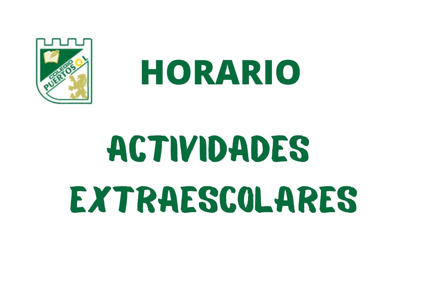 Horario actividades extraescolares y cuadrante de entrenamientos.